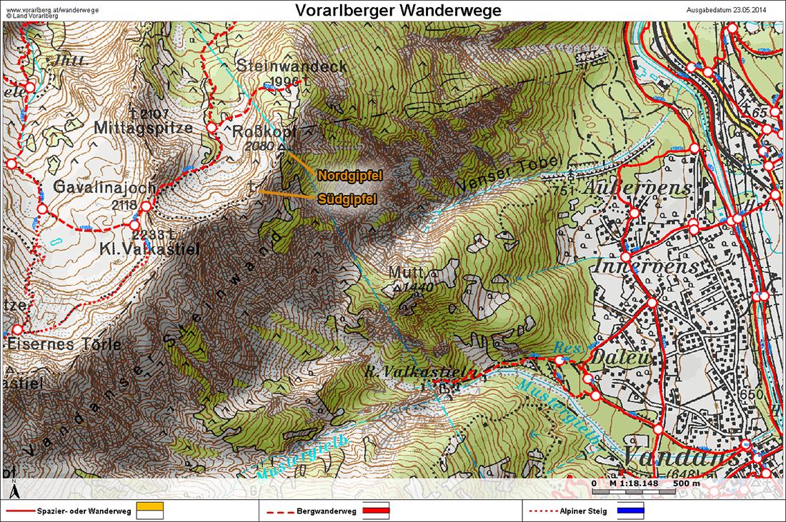 Vorarlberg Karte Berge.über Den Roßkopf