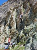 S. H. beim Klettern an der Kresperspitze, Silvretta