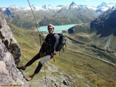 RKT beim Abseilen an der Kresperspitze, Silvretta