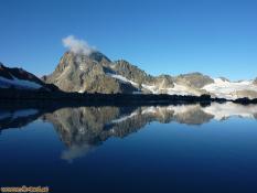 See beim Vermuntgletscher mit Spiegelung des Piz Buins, Silvretta